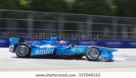 Putrajaya, Malaysia - November 7, 2015 : Swiss Simona de Silvestro of Team Amlin Andretti enters turn 2 at FIA Formula-e ePrix Championship Putrajaya, Malaysia - stock photo