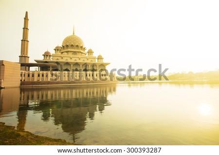 Putrajaya Mosque Malaysia in Twilight time. - stock photo