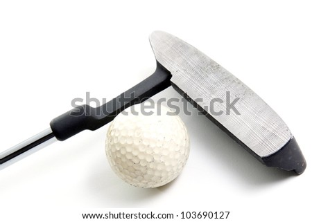 putter and golf ball on white background - stock photo