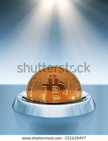 Putting Bitcoin Into Coin Slot In The Rays Of Light. 3D Scene. - stock photo