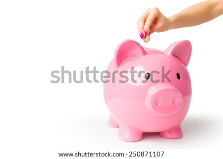 Putting coin in piggy bank - stock photo
