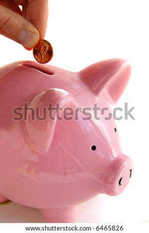 Putting money into the piggy bank, on white - stock photo