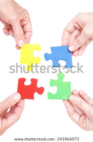 Putting the pieces together - stock photo