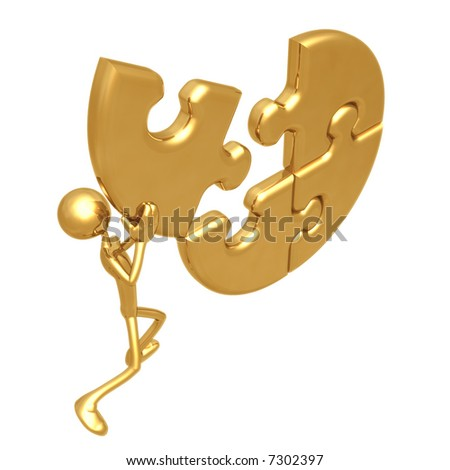 Putting The Puzzle Together - stock photo