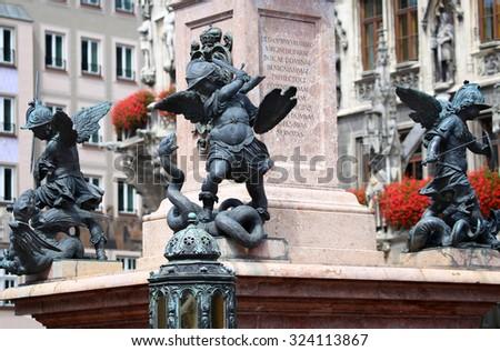 Putto Statue on the Marienplatz in Munich, German - stock photo