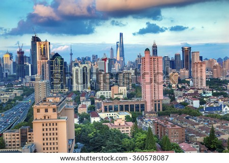 Puxi Pudong Buildings World Financial Center Jinmao Tower Modern Skyscrapers Shanghai China  - stock photo