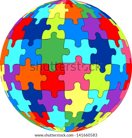 Puzzle ball - stock photo