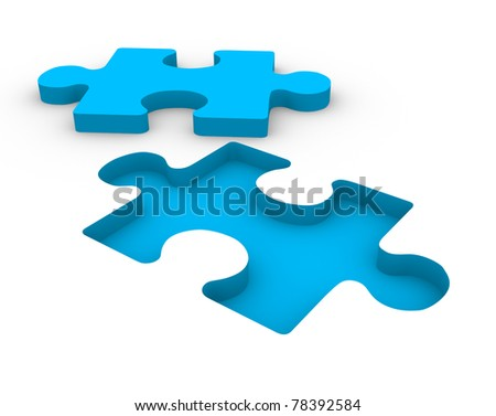 Puzzle blue on white background. This is a 3d render illustration - stock photo