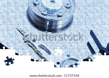 Puzzle Computer Hard Drive close up.  Toned. - stock photo