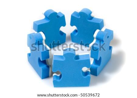Puzzle concept teamwork. Business concept. - stock photo