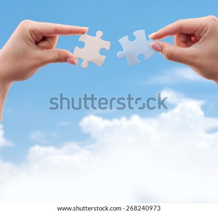 Puzzle, Connection, Human Hand. - stock photo