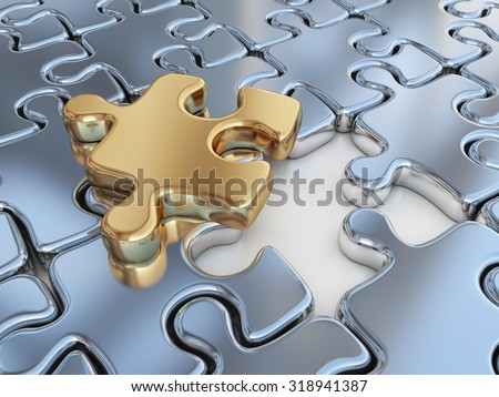 Puzzle 3D. Innovate, differentiate business background - stock photo