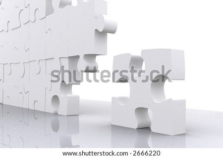 puzzle for business teamwork made in 3d over a white background - stock photo