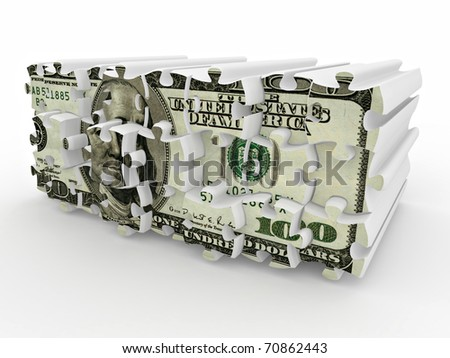Puzzle from dollar on white isolated background. 3d - stock photo