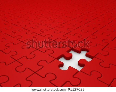 Puzzle game with a missing piece. Jigsaw. this is a 3d render illustration - stock photo