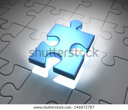 Puzzle game with missing piece - stock photo