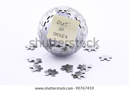 puzzle globe, Earth with memo card, out of order - stock photo