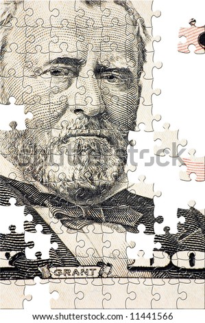 Puzzle Grant on a $50 bill - stock photo