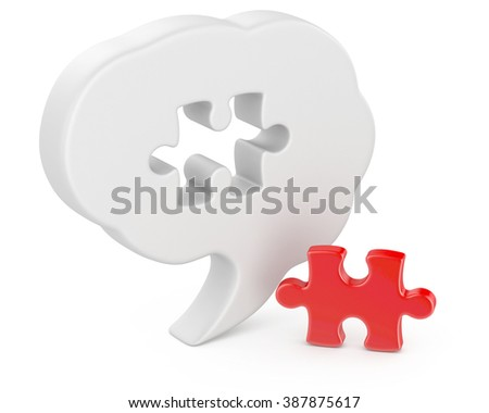 Puzzle head brain concept  - stock photo