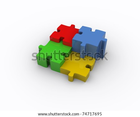 Puzzle illustration: 3d icon isolated on white - stock photo