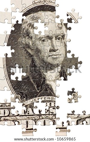Puzzle Jefferson on a $2 bill - stock photo