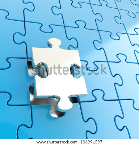 Puzzle jigsaw blue background with one shiny metal piece stand out - stock photo