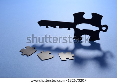 Puzzle key for car - stock photo