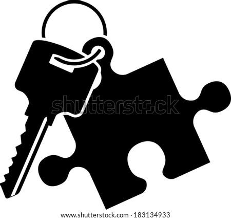 puzzle key. stencil. raster version - stock photo