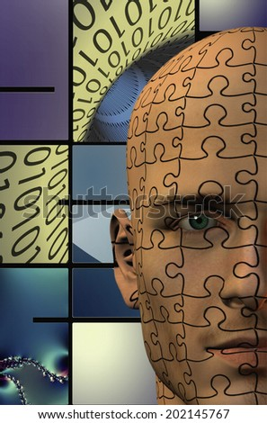 Puzzle Man Binary Abstract Background - stock photo