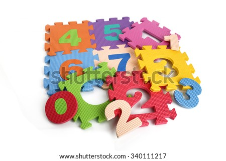 Puzzle mat, alphabet letter, counting number, Number 4, 5, 6, 0, 2 - stock photo