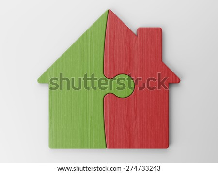 puzzle of a house with clipping path - stock photo