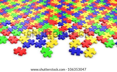 Puzzle on white background. - stock photo