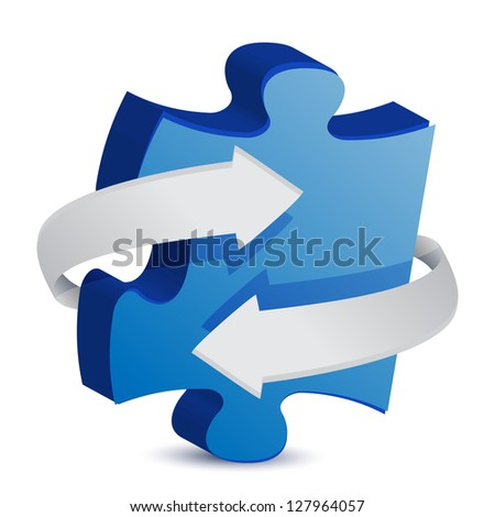 puzzle piece arrow illustration design over a white background - stock photo