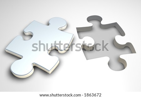 Puzzle piece next to a similar shaped slot - stock photo
