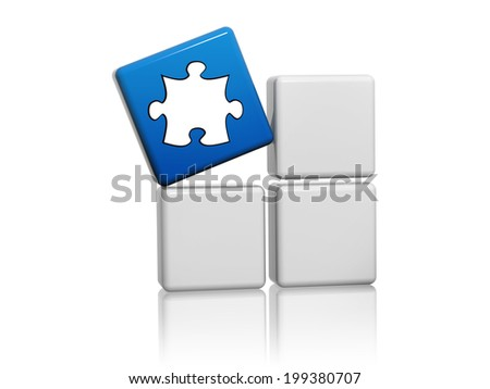 puzzle piece sign - 3d blue cube with white symbol on grey boxes, creativity concept - stock photo