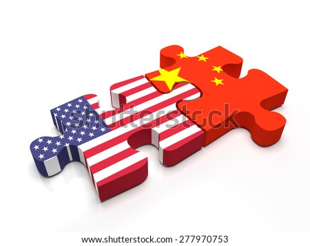 Puzzle pieces connect a piece containing the chinese flag and the US flag. - stock photo