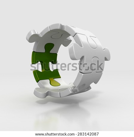puzzle pieces in circle shape. team work concept. 3d illustration isolated - stock photo