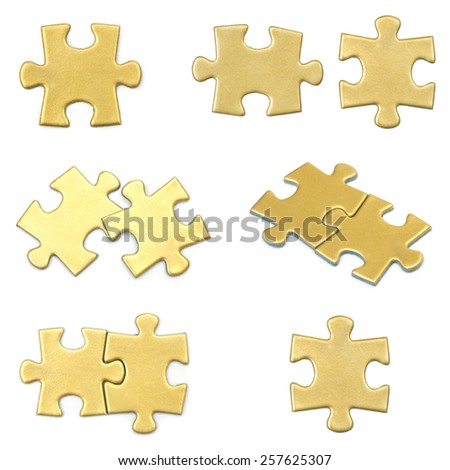 puzzle pieces on white background - stock photo