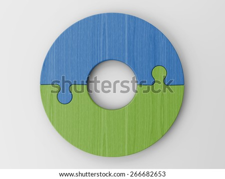 puzzle pieces to place your concepts with clipping path - stock photo