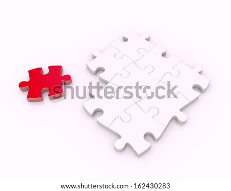 puzzle - separated piece - stock photo