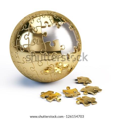 Puzzle sphere - stock photo