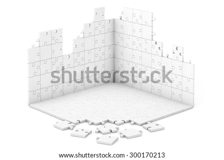 Puzzle Wall and Floor Construction on a white background - stock photo