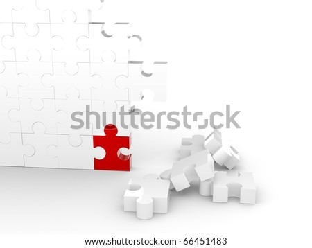 Puzzle Wall with one red piece - stock photo