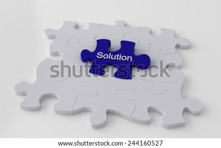 Puzzle with one blue piece - problem solving 3d concept - stock photo