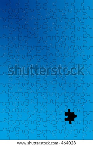 Puzzle with one piece missing. - stock photo