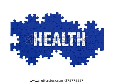 Puzzle with the HEALTH word  isolated on white  - stock photo