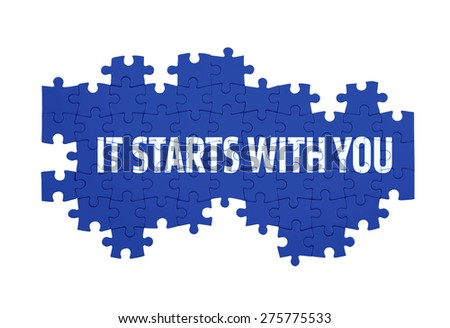 Puzzle with the IT STARTS WITH YOU word  isolated on white  - stock photo