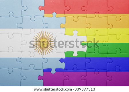 puzzle with the national flag of argentina and gay flag.concept - stock photo