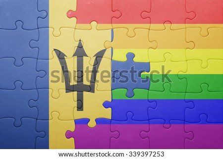 puzzle with the national flag of barbados and gay flag.concept - stock photo