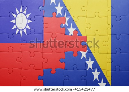 puzzle with the national flag of bosnia and herzegovina and taiwan . concept - stock photo